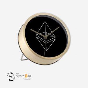 Ethereum Wireframe Black Table Clock